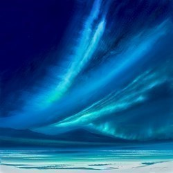 Green Northern Lights V by Jonathan Shaw -  sized 24x24 inches. Available from Whitewall Galleries